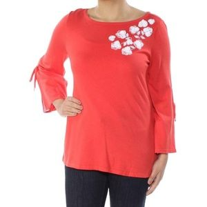 NWT Charter Club Orange Bell Style Blouse Size M